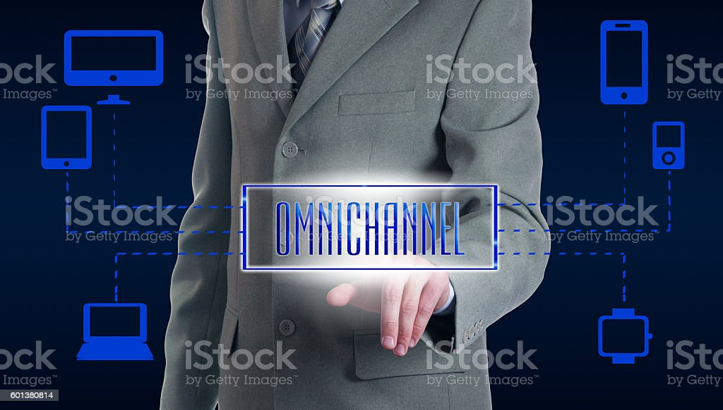 Concept of Omnichannel between devices stock photo