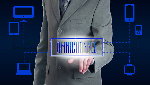 concept of omnichannel between devices - omnichannel marketing stock photos and pictures