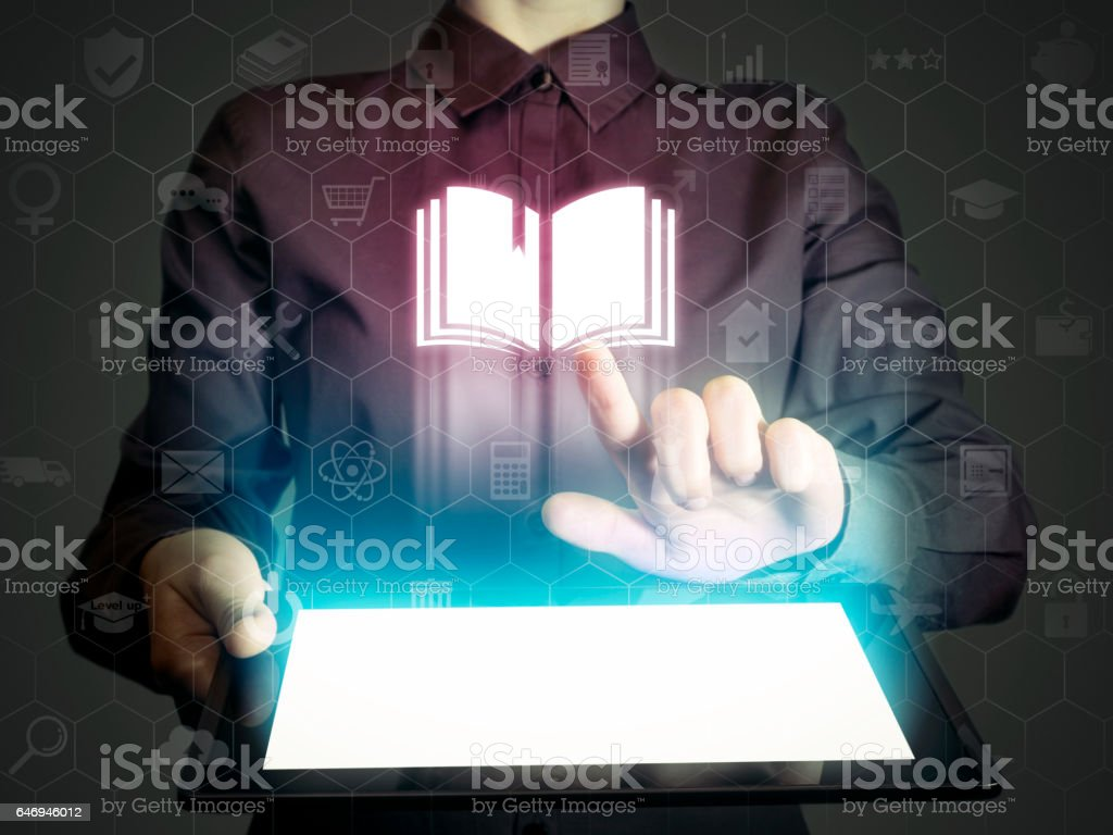 Concept of online: learning ,library, school etc. stock photo