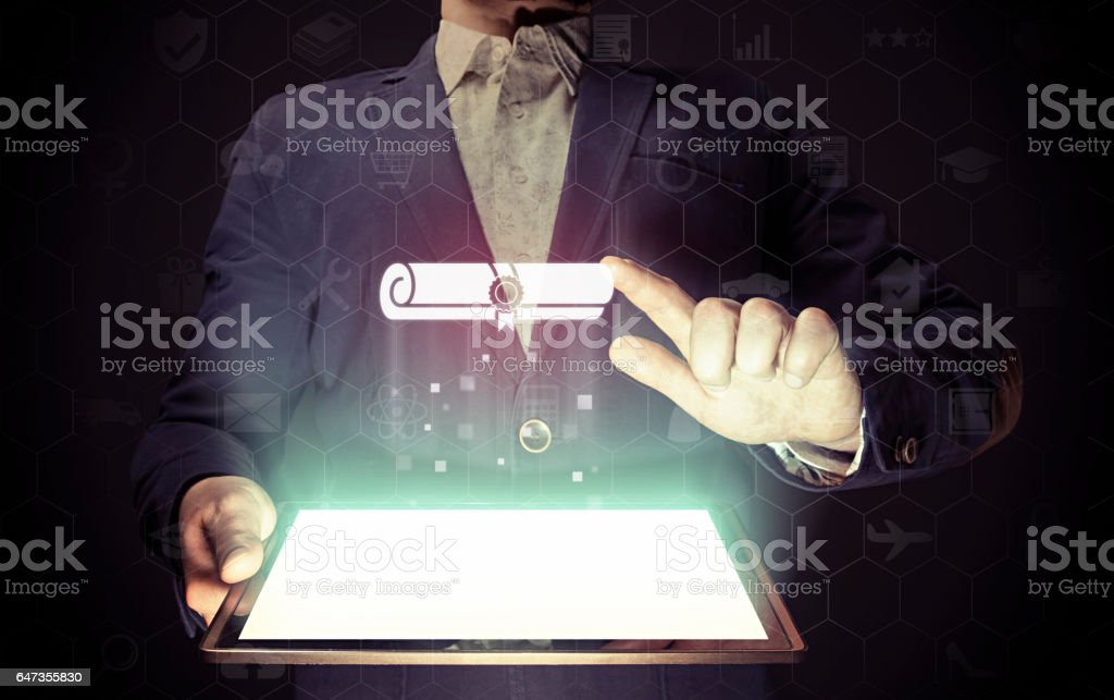 Concept of online learning. stock photo