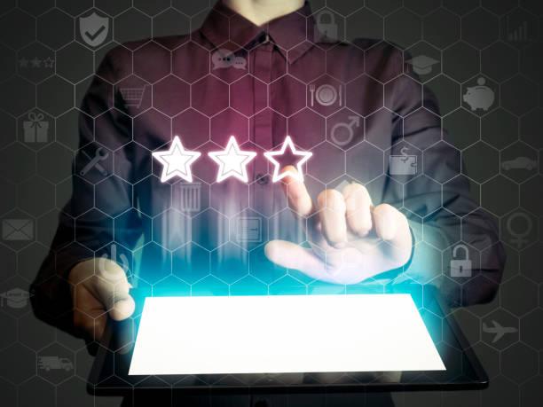 concept of online rating - feedback icon imagens e fotografias de stock