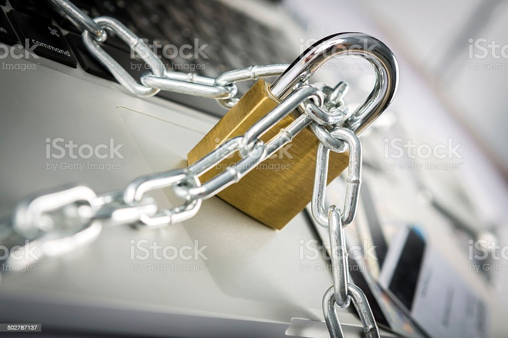 Concept of online security against hackers with padlock royalty-free stock photo