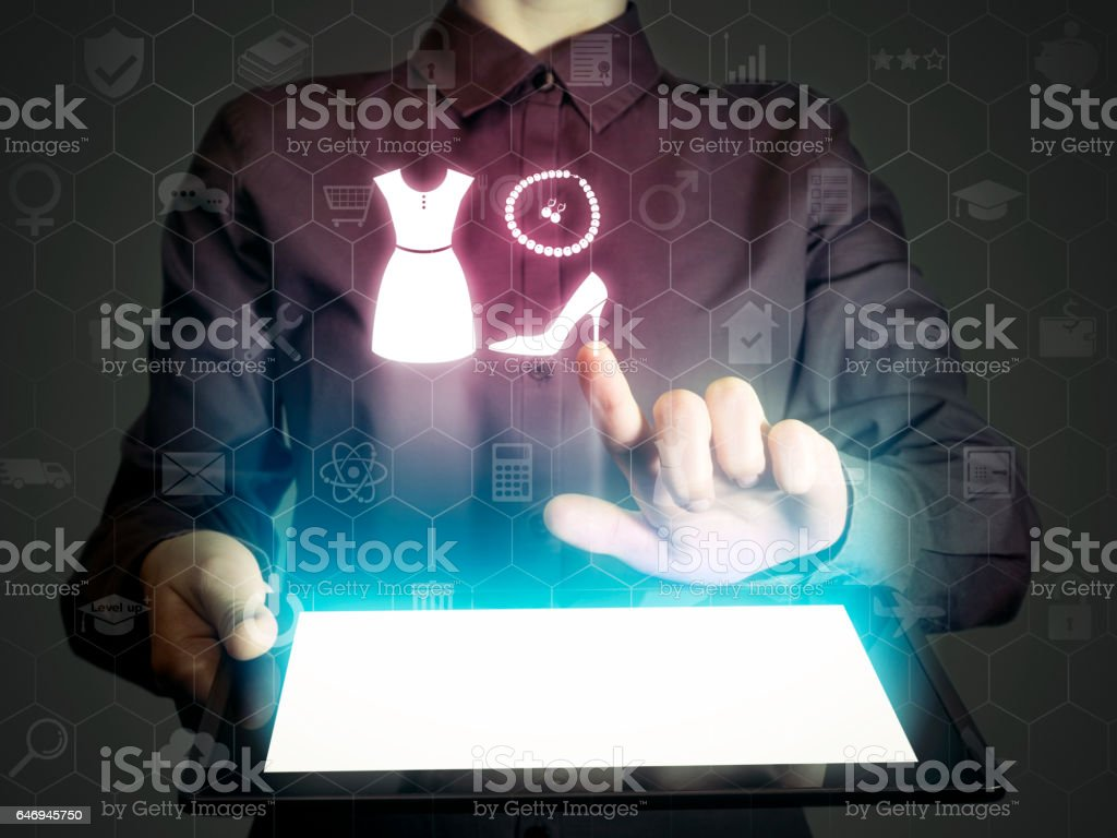 Concept of online shopping stock photo