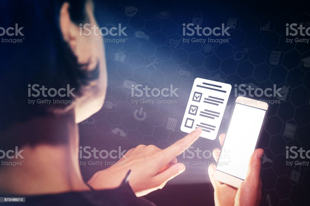 Concept of online testing, questionnaires, voting. stock photo