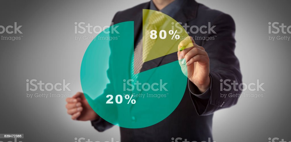 Concept Of Pareto Principle Or Eighty Twenty Rule stock photo