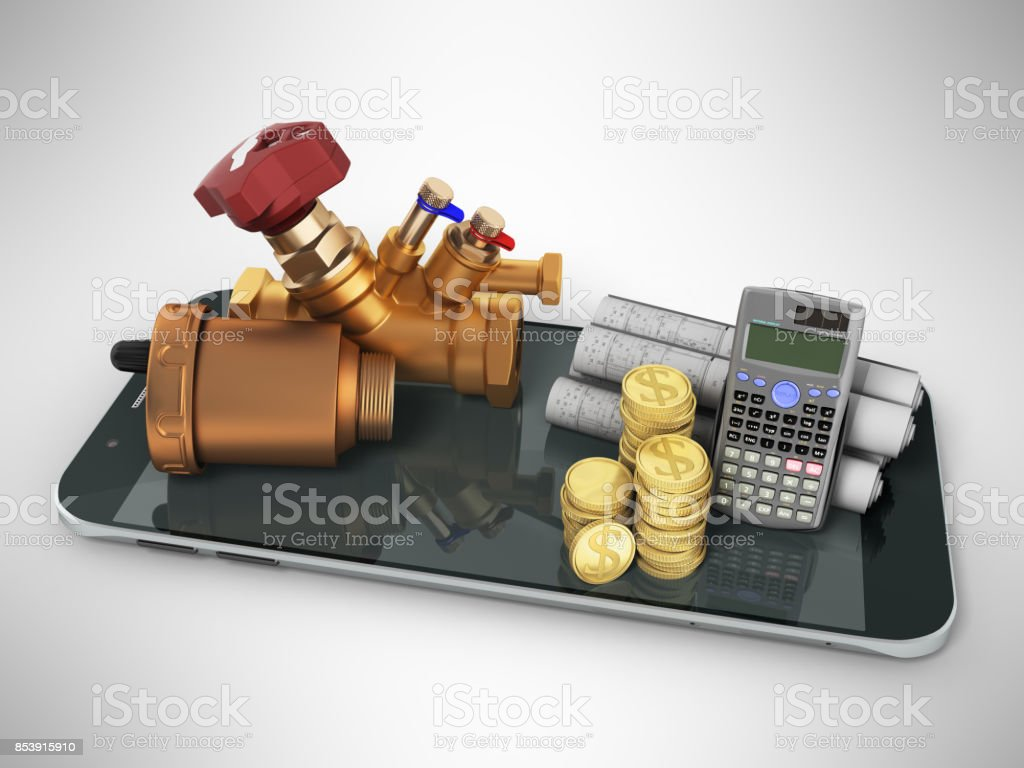 Concept of plumbing and heating calculation of reinforcement blueprints money communication 3d render on white background stock photo