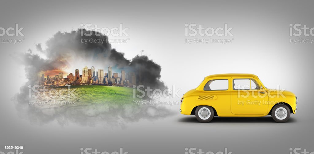 concept of pollution by exhaust gases the car releases a lot of on black gradient background smoke 3d render stock photo