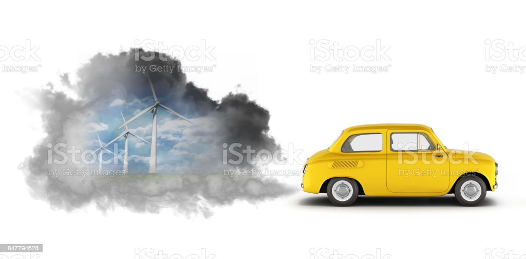 concept of pollution by exhaust gases the car releases a lot of smoke 3d render stock photo
