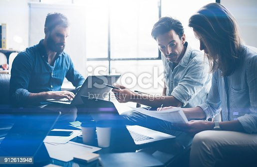 istock Concept of presentation new business project.Business people using electronic devices.Horizontal, blurred background. 912613948