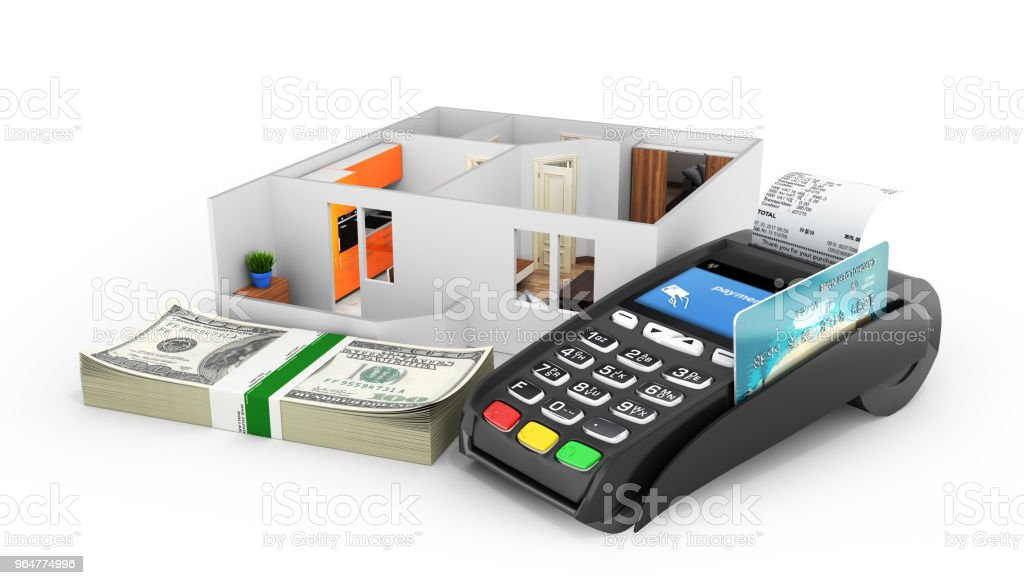 Concept of purchase or payment for housing Apartment layout with a stack of money american hundred dollar bills and POS terminal isolated on white background 3d royalty-free stock photo