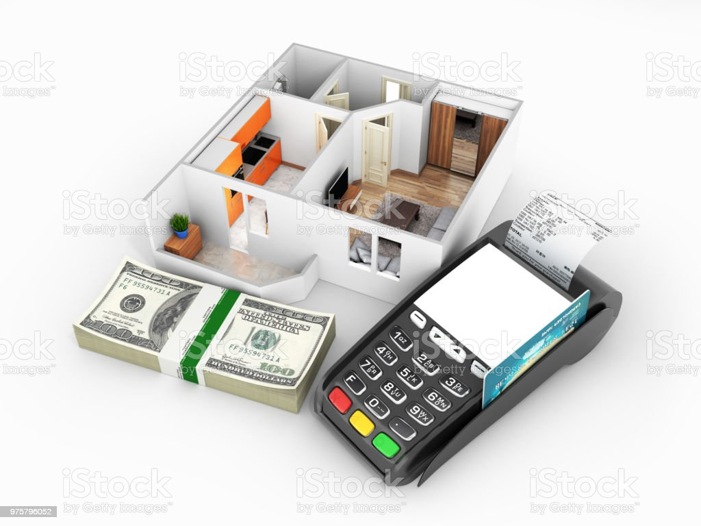 Konzept der Kauf oder die Zahlung für den Wohnungsbau Wohnung Layout mit einem Stapel von Geld amerikanische hundert-Dollar-Scheine und POS-Terminal isoliert auf weißem Hintergrund 3d - Lizenzfrei Bankgeschäft Stock-Foto