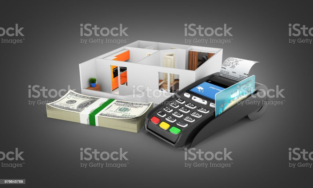 Concept of purchase or payment for housing Apartment layout with a stack of money american hundred dollar bills and POS terminal isolated on black gradient background 3d stock photo