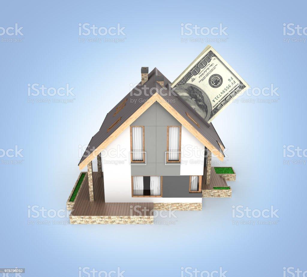 Konzept der Kauf oder die Zahlung für den Wohnungsbau Haus mit einem Stapel von Geld amerikanische hundert-Dollar-Scheine isoliert auf blauen Gradienten Hintergrund 3d - Lizenzfrei Bankgeschäft Stock-Foto