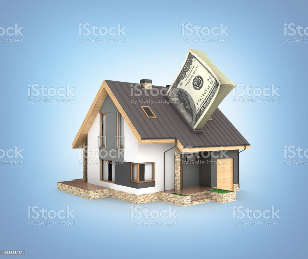 Concept of purchase or payment for housing House with a stack of money american hundred dollar bills isolated on blue gradient background 3d stock photo
