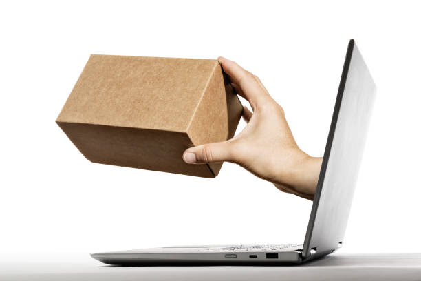 Concept of purchases in online store, delivery. stock photo