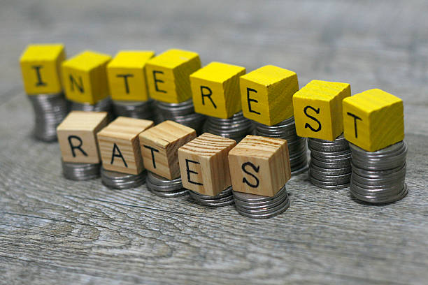 concept of raising interest rates - rates stock photos and pictures