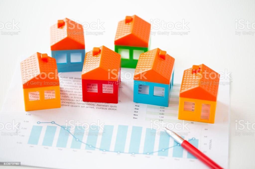 Concepto de bienes finca, hipoteca y el contrato de arrendamiento - foto de stock