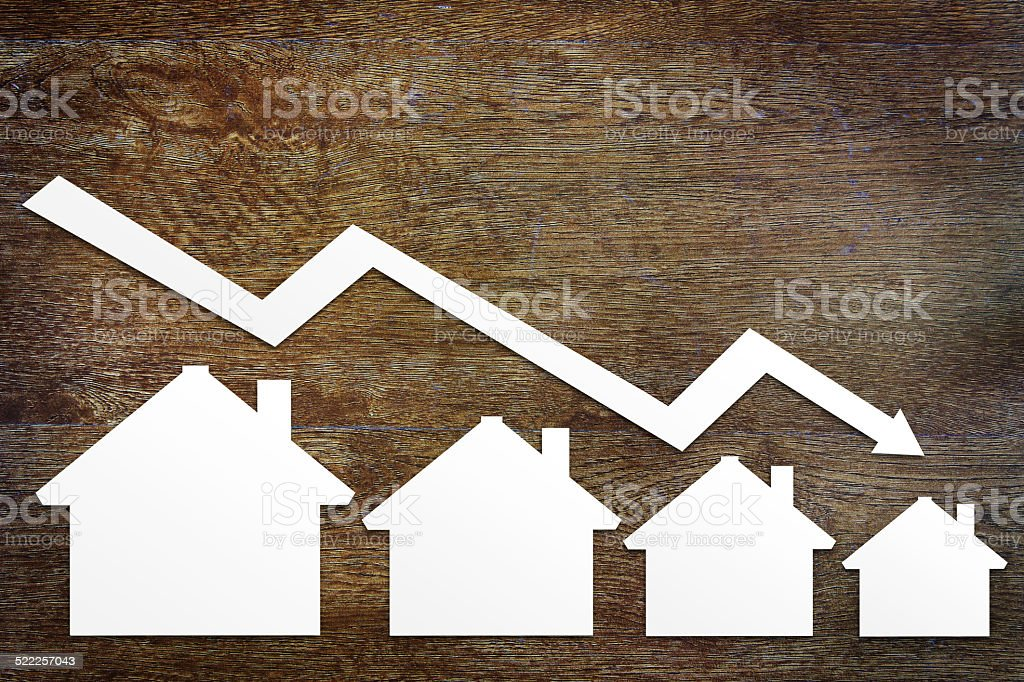 Concept of real estate sales fall stock photo