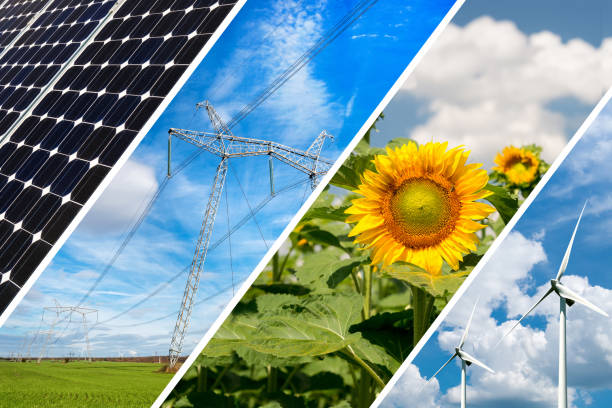 Concept of renewable energy and sustainable resources - photo collage – Foto