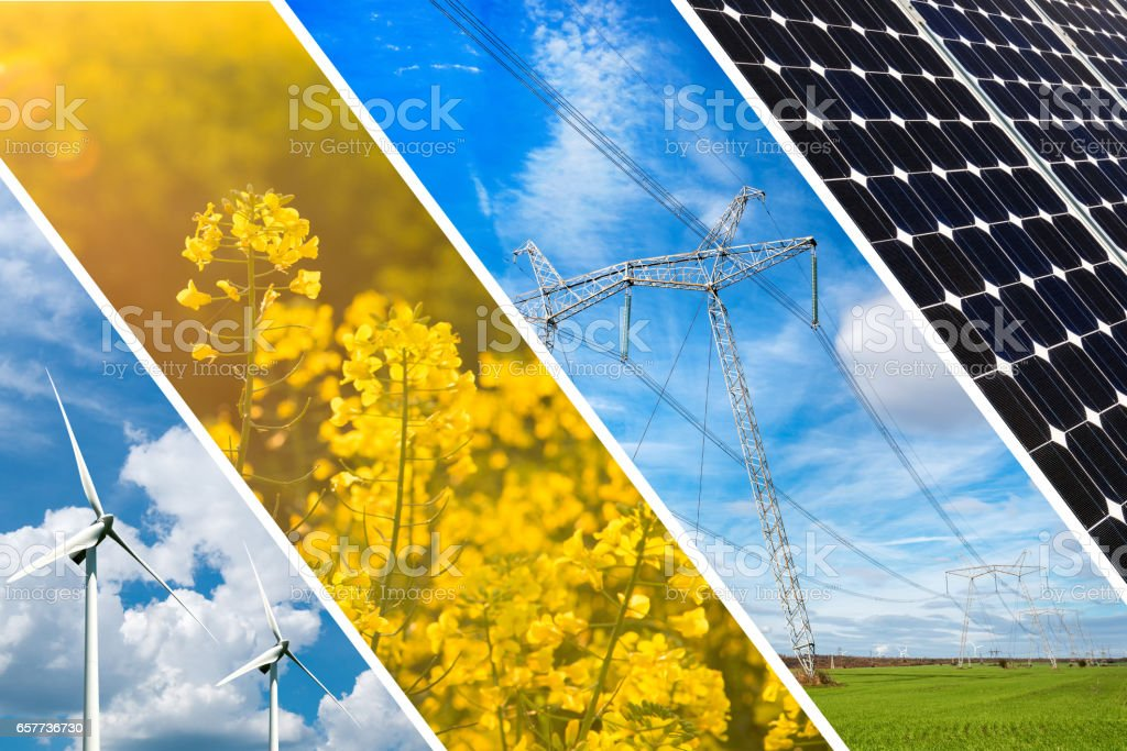 Concept of renewable energy and sustainable resources - photo collage stock photo