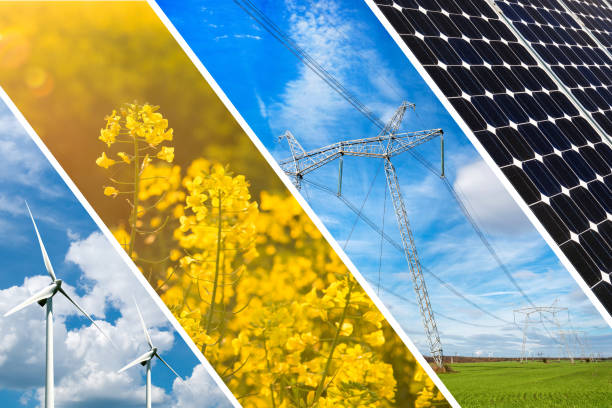 concept of renewable energy and sustainable resources - photo collage - climate stock photos and pictures