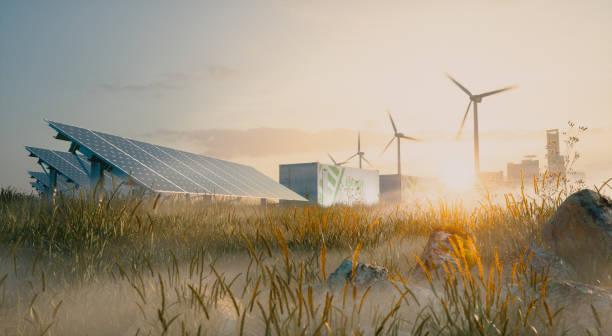 Konzept der erneuerbaren Energie Lösung in schönem Morgenlicht. Installation von Solarkraftwerken, Containerbatterie-Energiespeichern, Windkraftanlagen und Stadt im Hintergrund. 3D-Rendering. – Foto