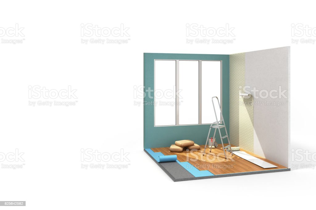 Concept of repair work isometric low poly home room renovation icon 3d render on white stock photo