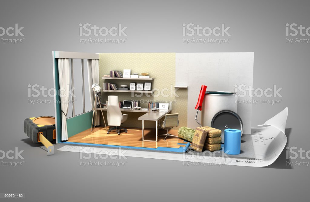 Concept of repair work isometric low poly home room renovation icon 3d render on grey stock photo