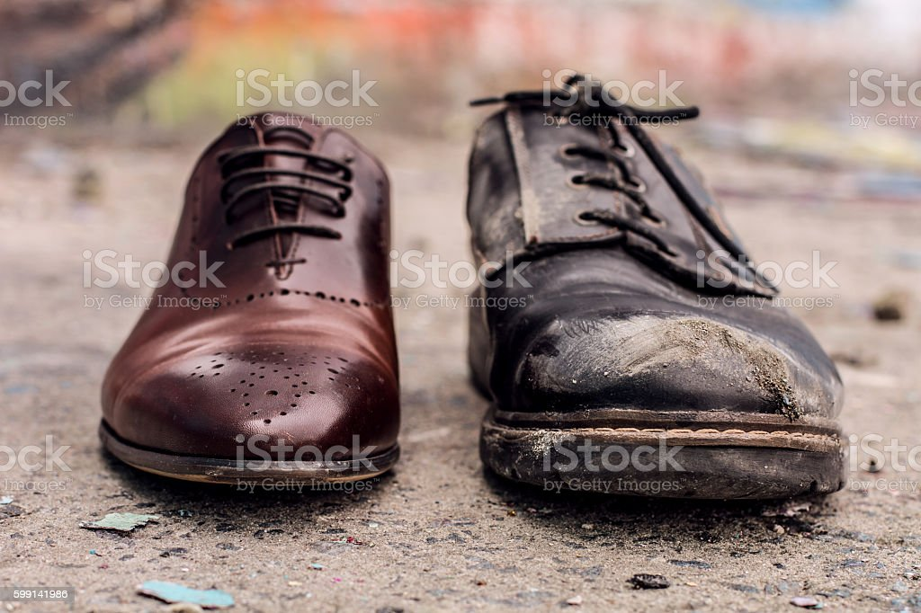 Concept of rich and poor in person. stock photo