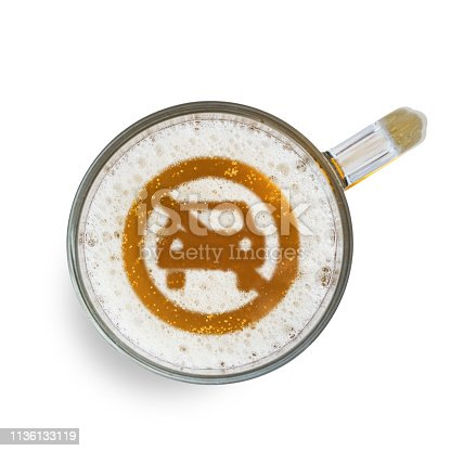 istock Concept of safe driving. Sign not allow Car access on the beer foam in glass. Isolated on white. Top view 1136133119