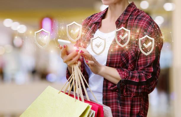 Concept of safe shopping . stock photo