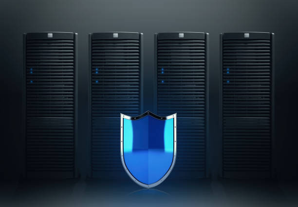 Concept of safety in a data center room with database server - foto stock