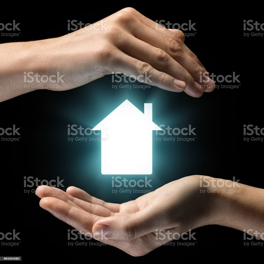 Concept of sale, rent, insurance and protection of real estate. stock photo