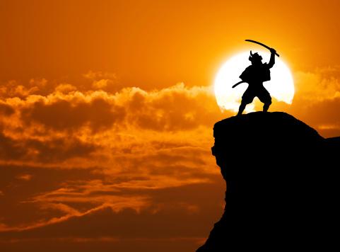 istock Concept of Samurai on top of mountain 160324292