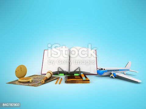 istock Concept of school and education biology microscope notebook 3d render on white background 840782902