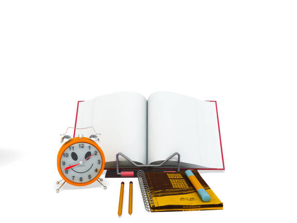 Concept of school and education lesson microscope notebook 3d rendering on white background stock photo