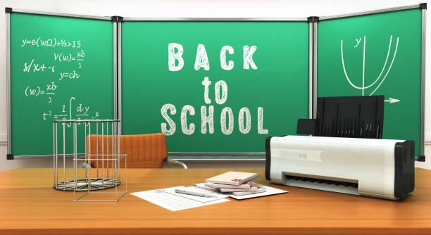 Concept of school and education mathematics printer notebooks geometric figures 3d render stock photo