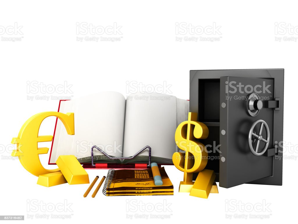 Concept of school and education mathematics printer notebooks geometric figures 3d render stock photo