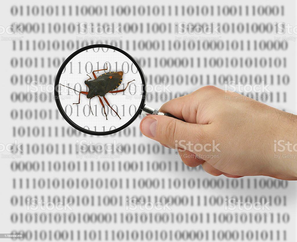 concept of searching for a bug stock photo