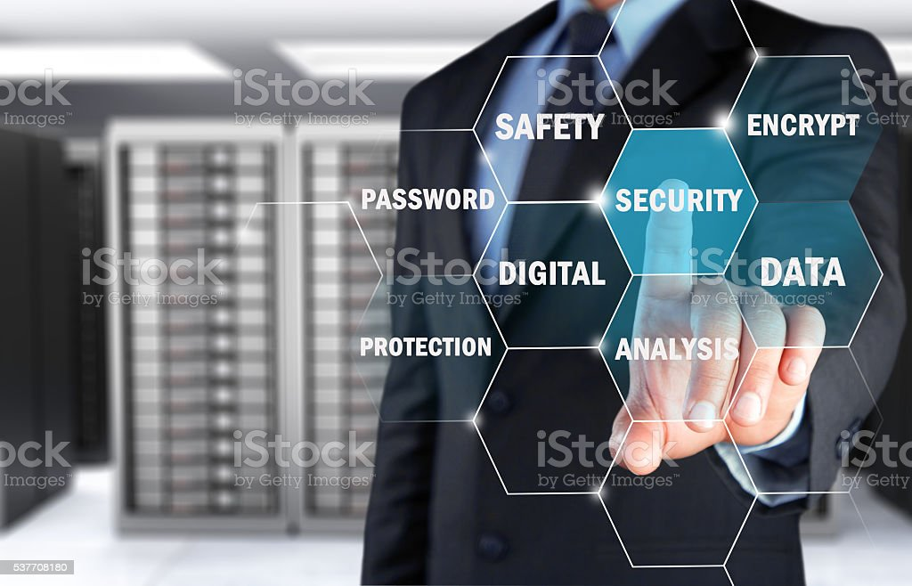 Concept of secure server on touch screen stock photo