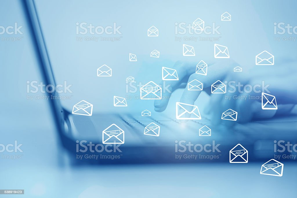 concept of sending e-mail from your computer stock photo