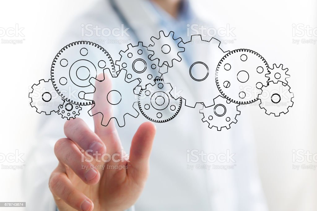 Concept of setting a technology interface with cogwheel - Gear wheel concept royalty-free stock photo