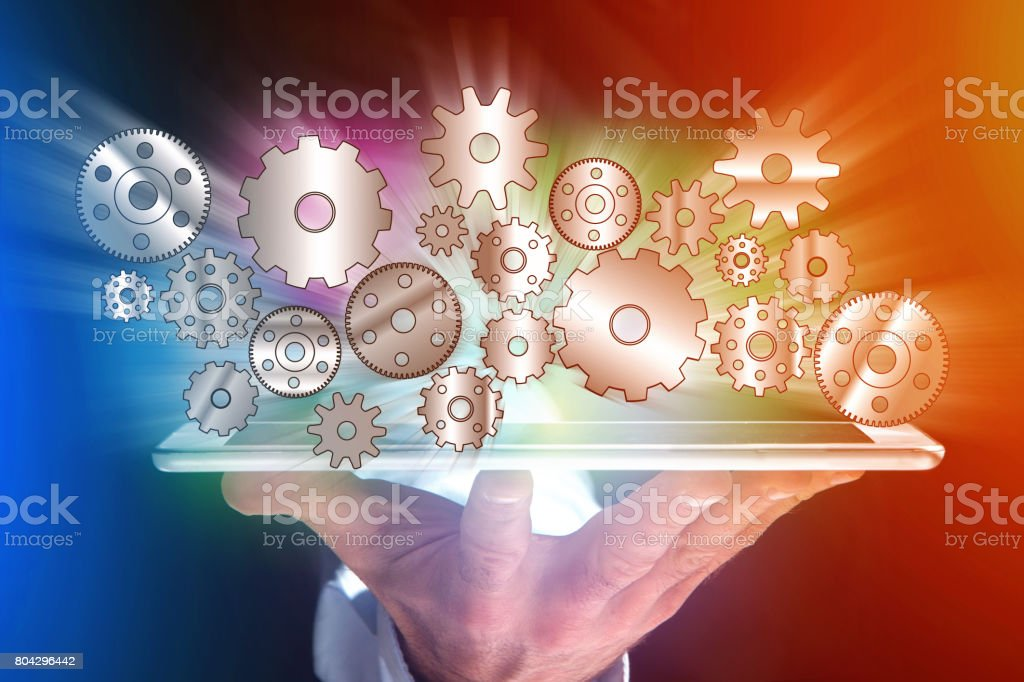 Concept of setting a technology interface with cogwheel - Gear wheel concept stock photo