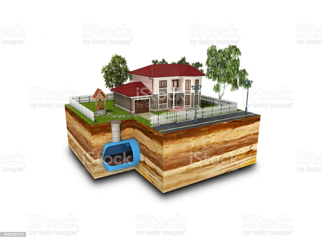 concept of Sewerage in a private house 3d render on white stock photo