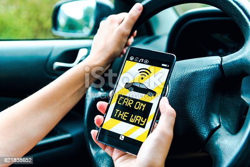 istock Concept of sharing economy with car app connecting with customers 621838652