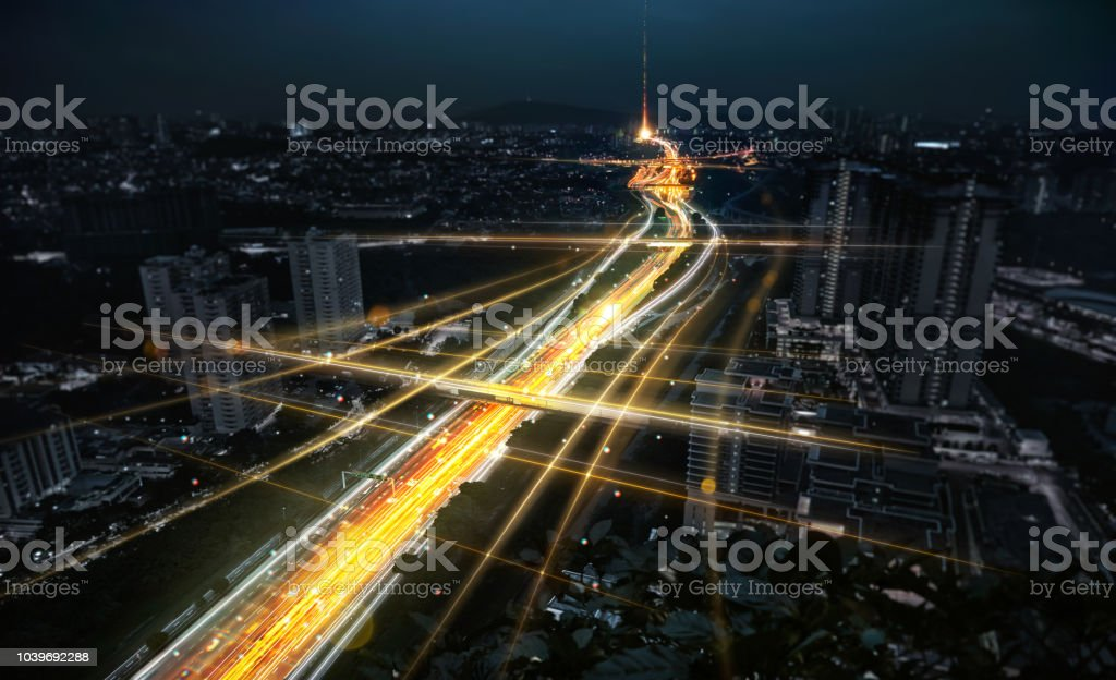 Concept of smart city network stock photo