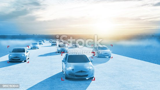 613881694 istock photo Concept of smart city where electric cars are registred for safe driving 989280644