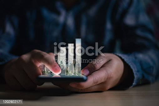 1051659174 istock photo Concept of smart phone share urban city  life. Double layers view of city scape and indoor hand image. 1202922171