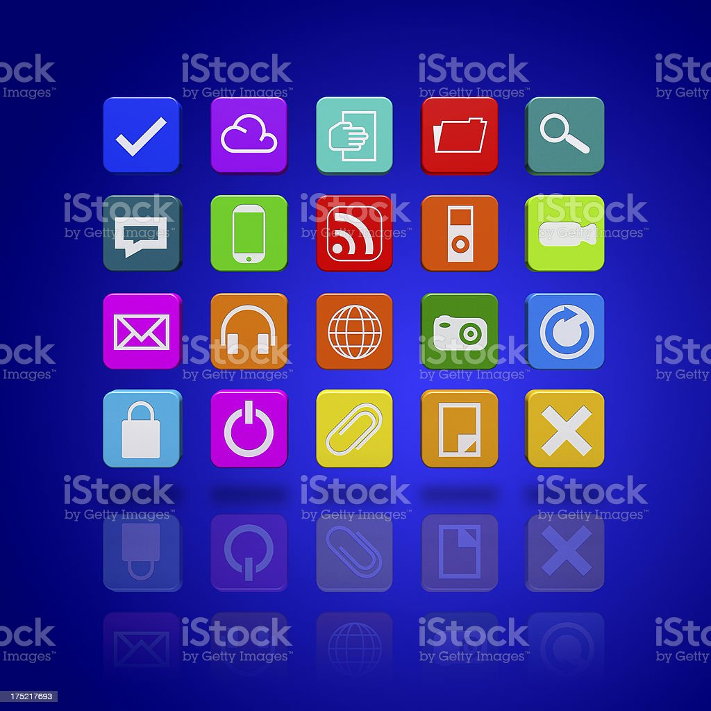 Concept of social media and computer icons stock photo