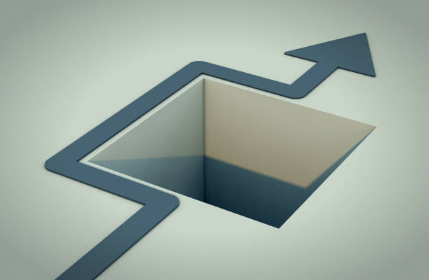 concept of solution one hole in the floor with an arrow that avoids it (3d render) avoidance stock pictures, royalty-free photos & images